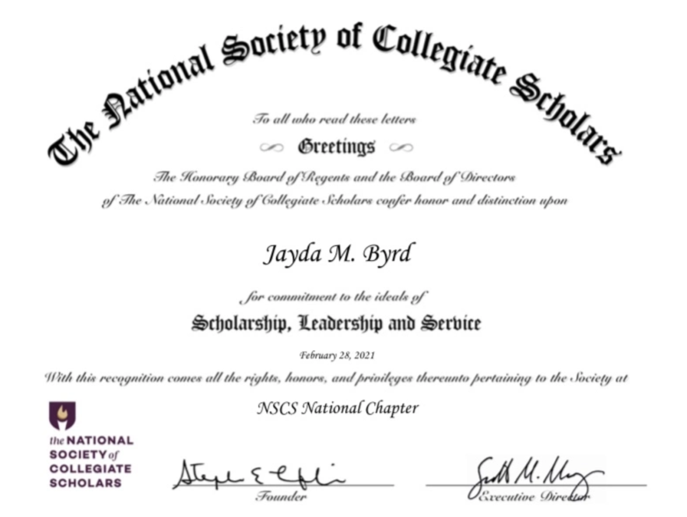 Nation's Premier Collegiate Honor Society Inducts TCHS Graduate Jayda M. Byrd