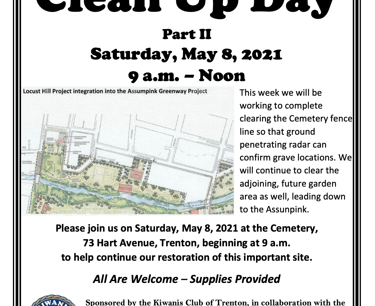 Clean Up Day Two for The Locust Hill Cemetery and Kiwanis Club of Trenton