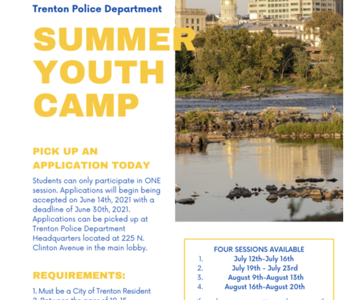 Trenton Police Department Offers Annual Summer Youth Camp