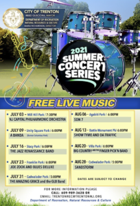 The City of Trenton's 2021 Summer Concert Series offers Free Live Music