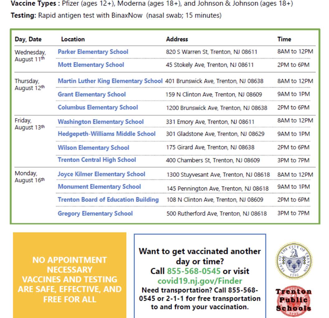Free COVID-19 Vaccination Clinics Across Trenton